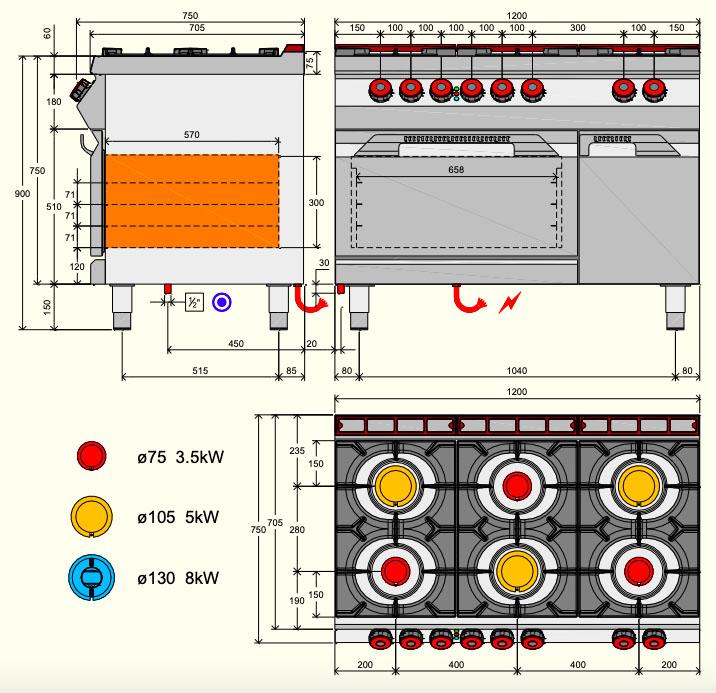 Desco 700-as 6 égős gázos tűzhely, elektromos sütővel és tárolóval (sárgaréz)