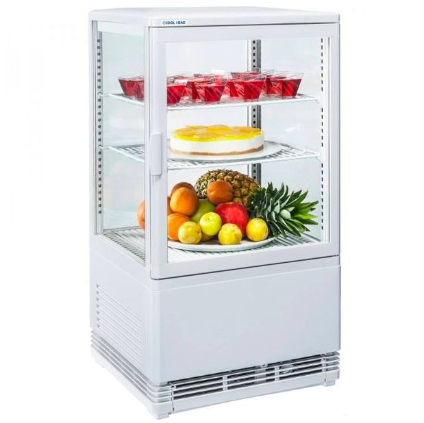 Hűtővitrin asztalra helyezhető, négy oldala üveg, 58L, fehér